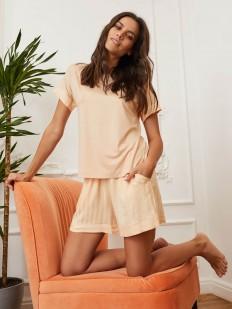 Персиковые женские шорты для дома из легкой вискозы