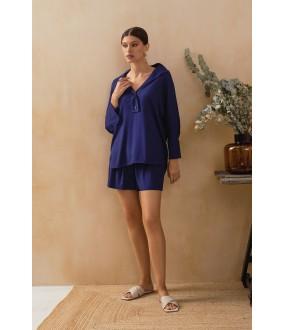 Синие домашние женские шорты с карманами
