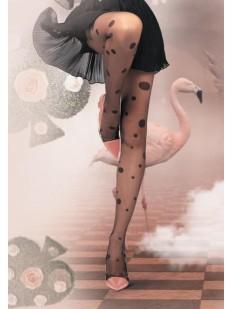 Летние женские колготки 20 ден с рисунком в горошек разного диаметра