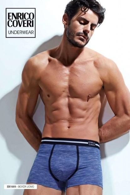 Хлопковые мужские трусы боксеры с фактурой меланж Enrico Coveri EB1669 uomo boxer