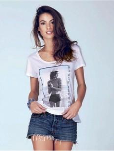 Женская футболка из хлопка и модала с летним принтом
