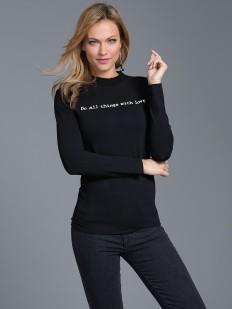 Женская футболка лонгслив с серебристой надписью