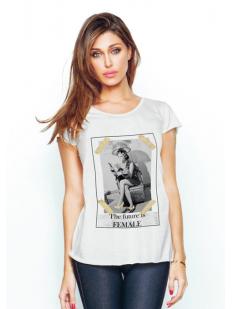 Женская домашняя хлопковая футболка с принтом