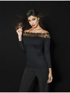 Кружевная женская блузка с длинными рукавами и открытыми плечами