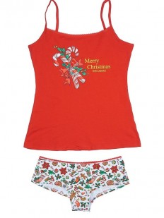 Комплект женского белья с рождественским принтом: майка и трусы шортики