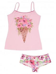 Комплект женского белья с цветочным принтом: майка и трусы шортики