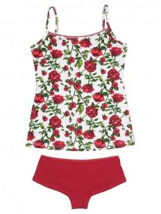 Комплект женского белья с розами: майка и трусы шортики