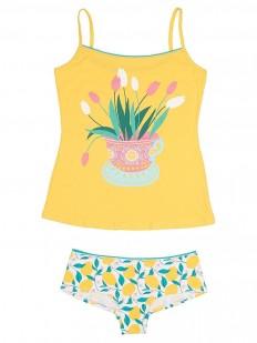 Комплект женского белья с цветным принтом: майка и трусы шортики