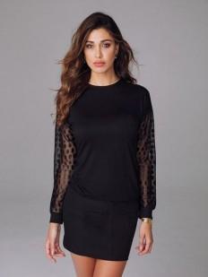 Женская удлиненная блузка из вискозы с длинным тюлевым рукавом
