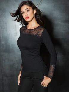 Черная женская блузка футболка с длинным рукавом и кружевным декором