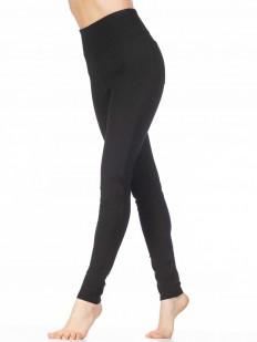 Плотные черные брюки леггинсы из вискозы с высокой талией