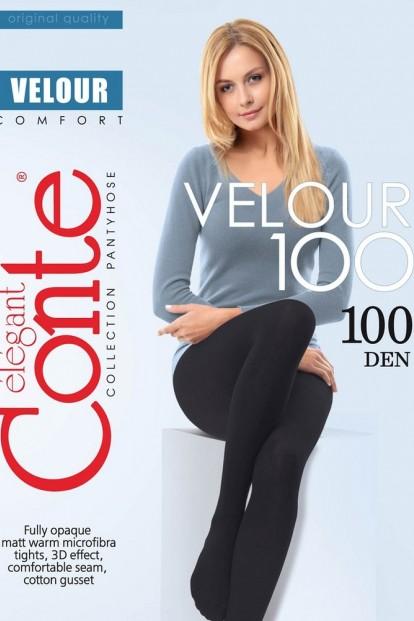 Теплые матовые колготки большого размера из бархатистой микрофибра Conte elegant Velour 100 xl
