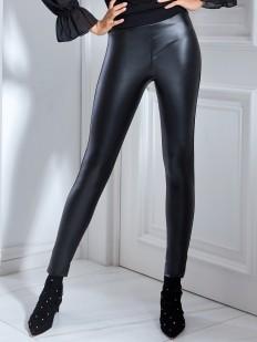 Черные кожаные женские брюки леггинсы с эффектом блеска