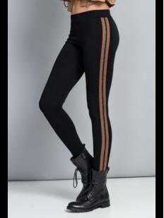 Женские укороченные брюки леггинсы из хлопка с полосками лампасами