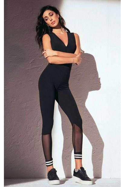 Хлопковые женские спортивные легинсы с прозрачной сеткой JADEA 4957 leggings - фото 1