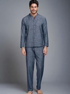 Мужская хлопковая домашняя пижама с рубашкой на пуговицах