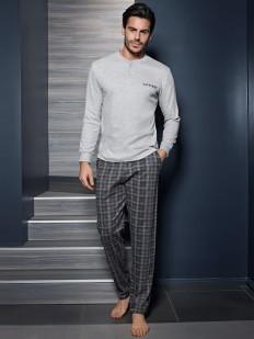 Хлопковая мужская пижама для дома с брюками в клетку