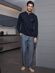 Мужская домашняя пижама из хлопка с брюками и футболкой лонгслив