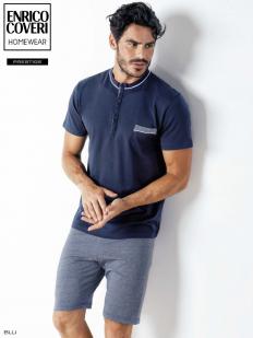 Мужской хлопковый пижамный комплект для дома с шортами и футболкой