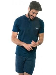 Мужской летний пижамный комплект хб с шортами и футболкой
