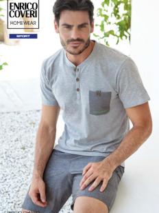 Летний мужской пижамный комплект из хлопка с шортами и футболкой