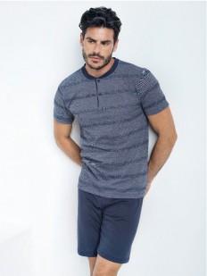 Мужской хлопковой пижамный комплект на лето с шортами и футболкой в полоску