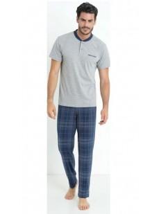 Мужской хлопковый пижамный комплект с футболкой и брюками в клетку