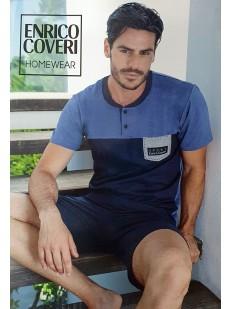 Мужской летний пижамный комплект из хлопка с шортами и футболкой