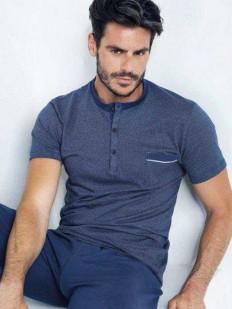 Мужской пижамный комплект из хлопка с синей футболкой и брюками