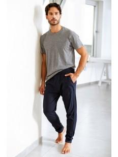 Мужские хлопковые штаны для дома с карманами и манжетами