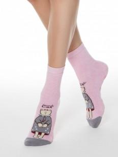 Домашние розовые женские носки с кошечками и антискользящим покрытием