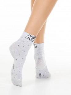 Хлопковые женские носки в горошек с принтом спящих щенков