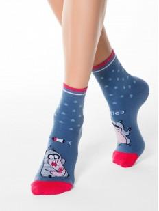 Высокие женские носки с прикольным рисунком в тематике SELFIE
