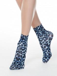Модные женские носки с оригинальным синим принтом