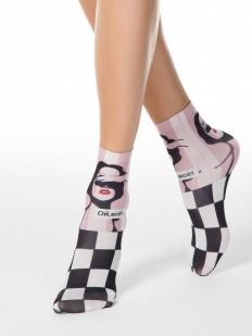 Модные женские носки с надписью ОЙ ВСЁ и шахматным принтом