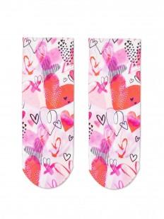 Женские цветные носочки с яркими сердечками