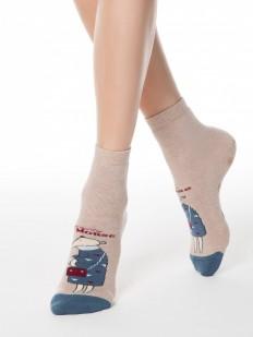 Высокие женские носки с антискользящей стопой и цветным рисунком мышки