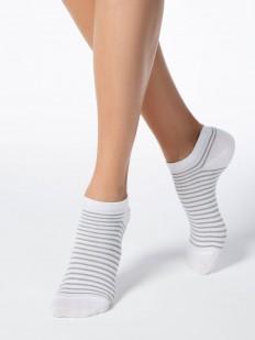 Укороченные женские носки в блестящую полоску
