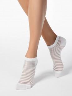 Укороченные женские носки в блестящую просветную полоску