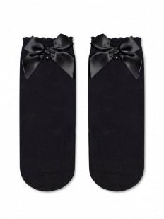 Стильные женские носки с атласным бантиком и стразами