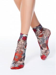 Женские носки с цветным принтом в стиле олдскул