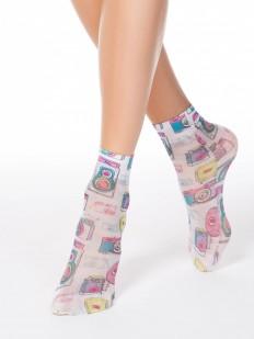 Модные женские носки с цветным принтом в ретро стиле
