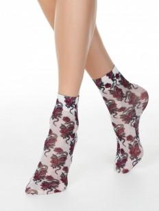 Модные женские носки с цветочно-змеиным принтом 40 DEN