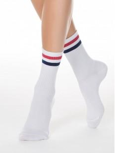 Высокие спортивные женские носки с цветными полосками