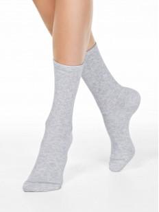 Высокие однотонные женские носки из хлопка