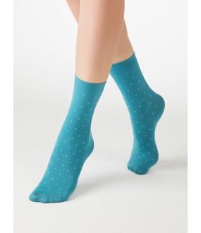Цветные женские носочки в контрастный горошек из микрофибры 70 den