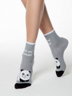 Высокие хлопковые женские носки серого цвета с пандами