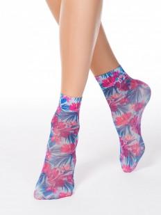 Яркие женские носки 40 den с тропическим цветочным принтом