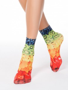 Женские носки 70 ден с разноцветным фруктовым принтом