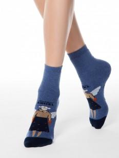 Хлопковые всесезонные женские носки с ангелочком и антискользящей стопой
